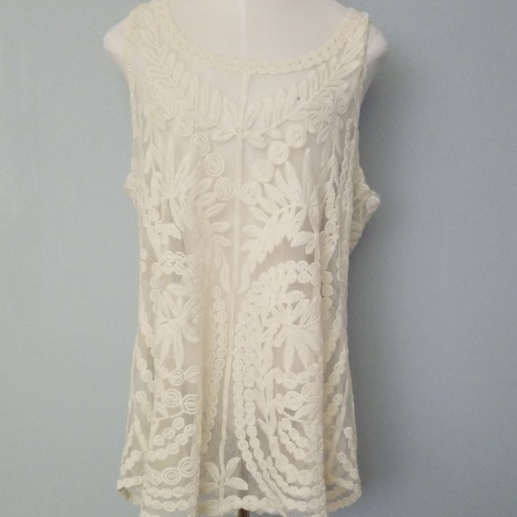 Cynthia Rowley Tops - Cynthia Rowley off white lace and doyle like top